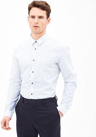 Slim fit: luchtig overhemd met linnen