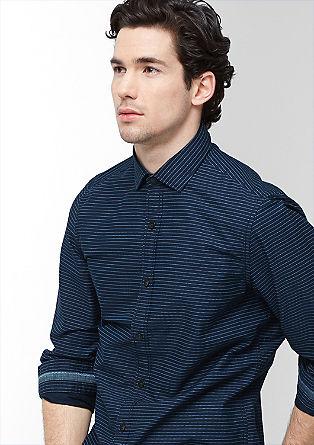 Slim fit: overhemd met denim details