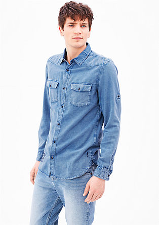 Slim fit: overhemd met een denim look