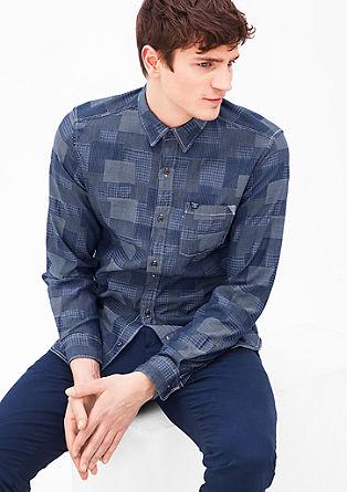 Slim fit: overhemd met een geweven motief