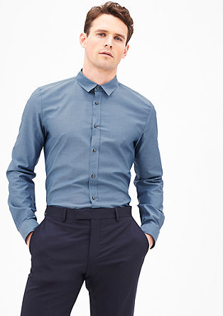 Slim fit: overhemd met fijne geweven ruiten