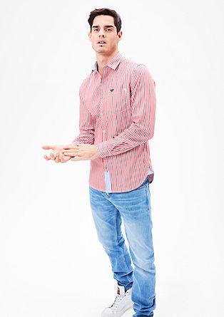 Slim fit: overhemd met geweven strepen