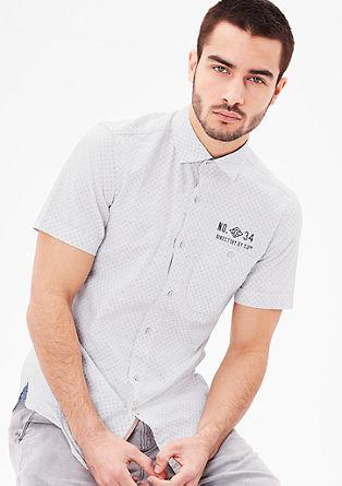 Slim fit: overhemd met motief en slubeffect