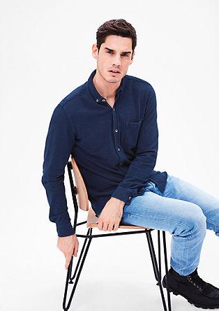 Slim fit: overhemd met piquélook