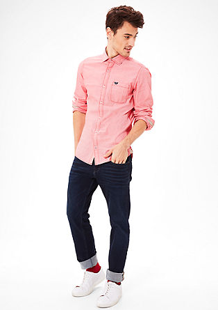 Slim fit: overhemd met ton sur ton naden