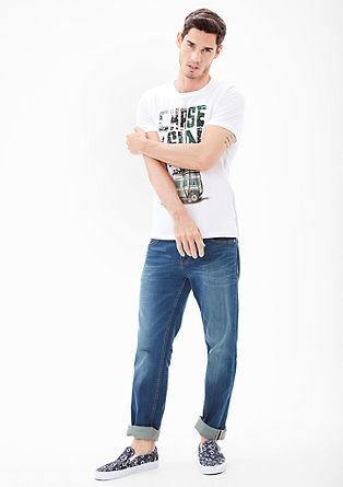 Slim fit: T-shirt met surferprint