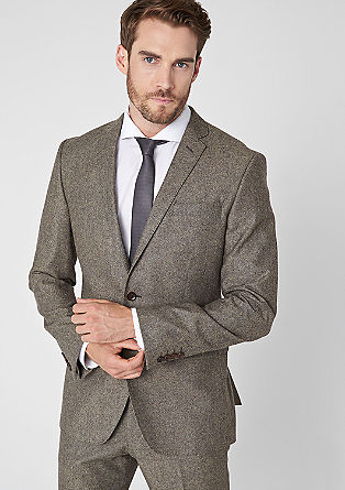 Slim fit: tailored jacket in mottled tweed from s.Oliver
