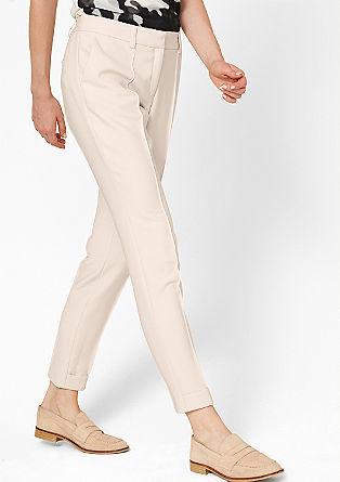 Slim fit:broek van viscose/stretch