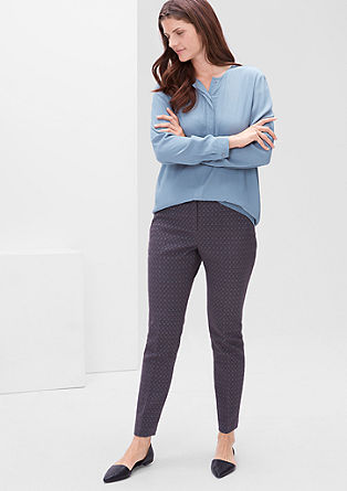 Slim fit jacquard stretch trousers from s.Oliver
