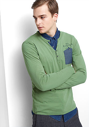 Slim fit shirt with a chest pocket from s.Oliver