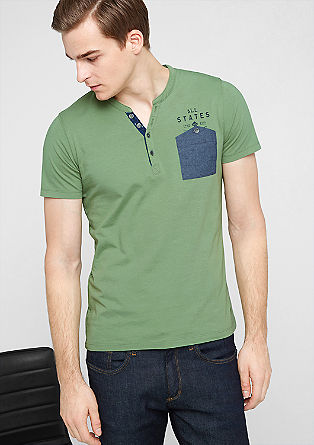 Slim fit T-shirt with a chest pocket from s.Oliver