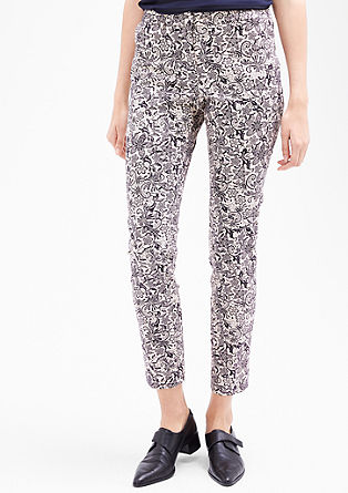Slim-fitting trousers with an all-over print from s.Oliver