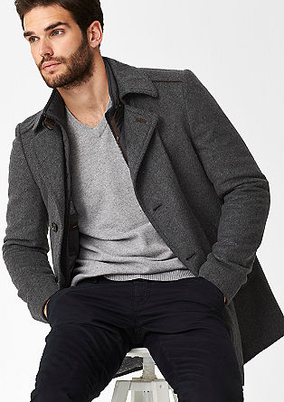 Slim-fitting wool coat in a layered look from s.Oliver