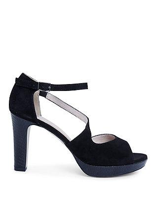 Sling-Sandalette aus Veloursleder