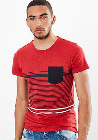 Slub Yarn-Shirt mit Streifenprint