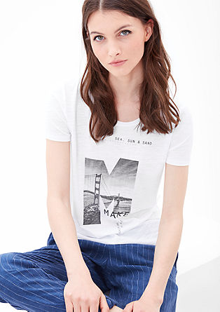 Slub yarn T-shirt with a photo print from s.Oliver