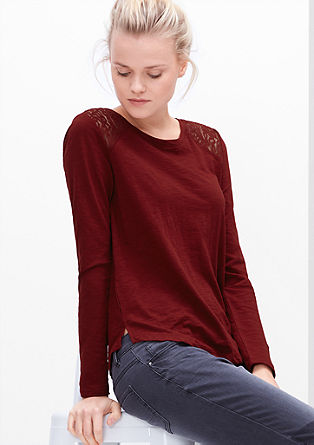 Slub yarn top with lace from s.Oliver