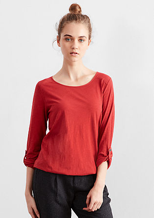 Slub yarn top with turn-up sleeves from s.Oliver