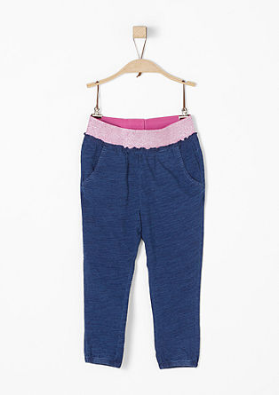 Slub yarn trousers with glitter waistband from s.Oliver