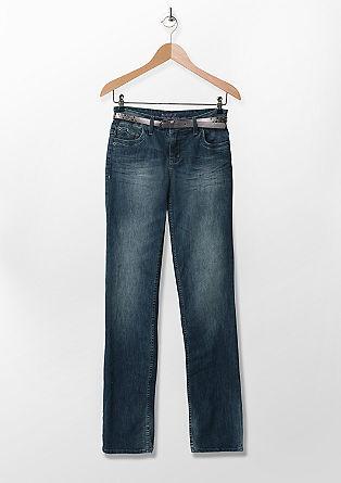 Smart Bootcut: Jeans mit Nietengürtel