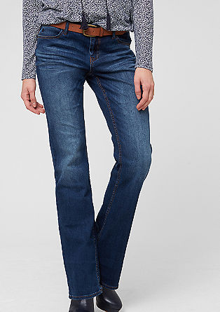 Smart Bootcut: Stretch-Jeans mit Gürtel