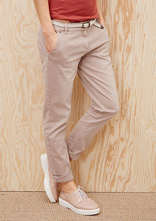Smart Chino: trousers with a braided belt from s.Oliver