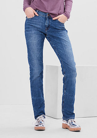 Smart straight: garment washed jeans