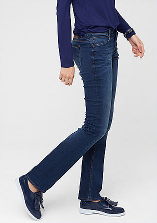 Smart straight: stretchy blue jeans