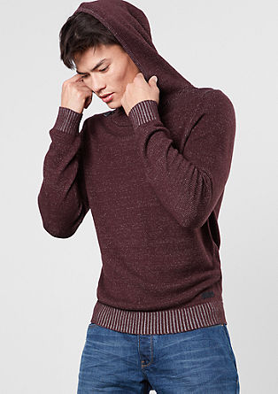 Smooth knit hoodie in blended cotton from s.Oliver