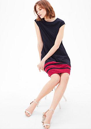 Spitzen-Kleid mit Blockstreifen