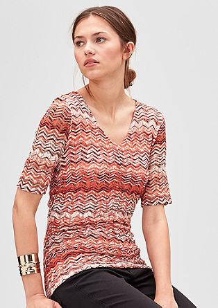 Spitzen-Shirt mit Musterprint