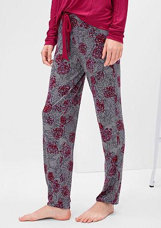 Spodnji del pižame s potiskom vrtnic