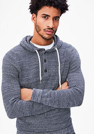 Športen pleten pulover s kapuco
