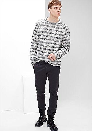 Športni pulover iz kombinacije plamenaste preje in džersija