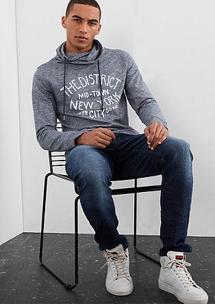 Športni pulover iz preje melange s šal ovratnikom