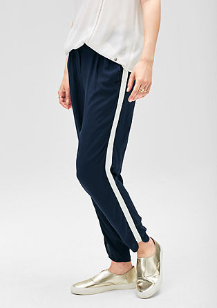 Sporty fabric trousers with stripes from s.Oliver