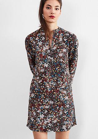 Sproščena obleka z vzorcem tisoč cvetov