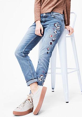 Sproščene jeans hlače z umetninami