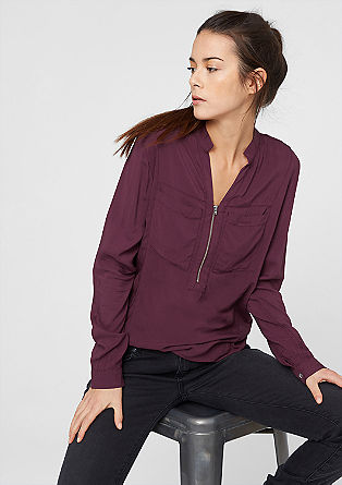 Srajčna bluza s kratko okrasno zadrgo