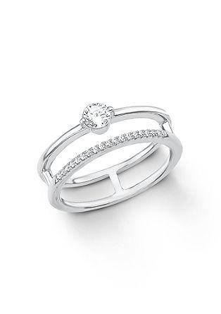Srebrn prstan z dvema obročkoma in cirkoni