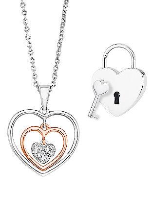 Srebrna ogrlica s ključavnico ljubezni