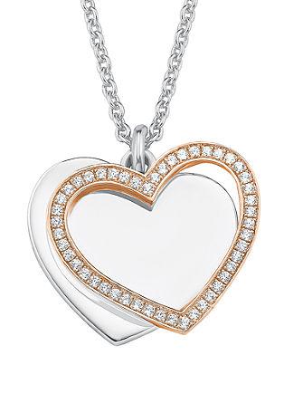 Srebrna ogrlica z dvobarvnim obeskom