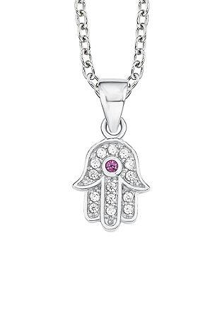 Srebrna ogrlica z obeskom hamsa ali roka Fatime
