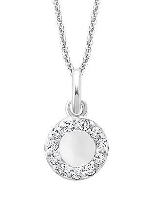 Srebrna ogrlica z obeskom s cirkoni