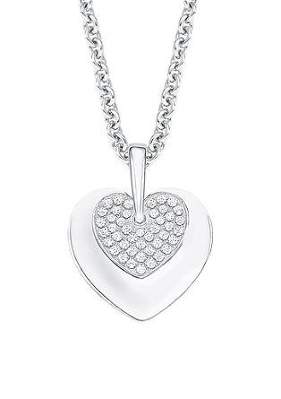 Srebrna ogrlica z obeskom v obliki srčka