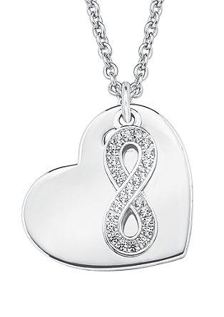 Srebrna verižica s srčkom in simbolom za neskončnost