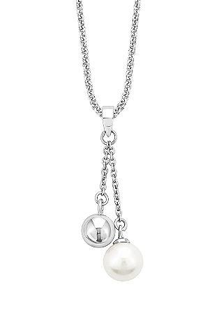 Srebrna verižica z biserom in s kroglico