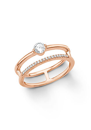 Srebrni dvojni prstan rožnate barve