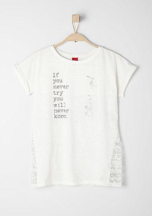 Statement-Shirt mit Spitze