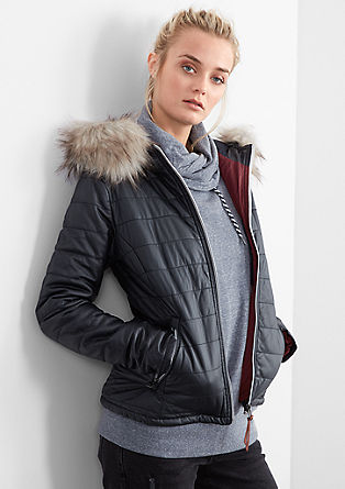 Steppjacke in Leder-Optik